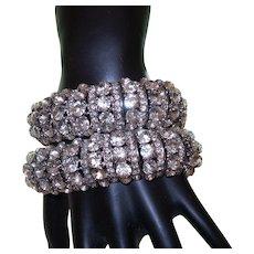 Vintage Pair of White Rhinestone Bracelets