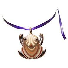 Signed Eisenberg Frog Pendant