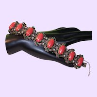 Unsigned Florenza Bracelet with Faux Coral Cabochons