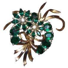 Vintage Designer Quality Emerald Green Stone Brooch