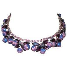 Juliana Butterfly Necklace/Earrings Set with Amethyst Rhinestones