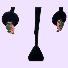 Vintage Coral and Jade Pierced Earrings