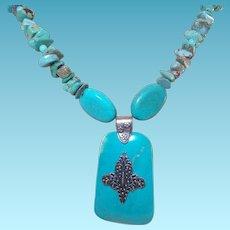 Artisan Created Necklace Made From American Chip Turquoise