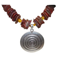 Artisan Created Necklace and Earring Set Made From Jasper and Amber Rondells