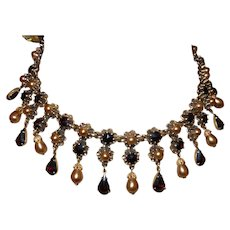 Vintage Faux Garnet/Faux Pearl Necklace