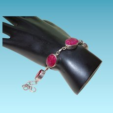 Ethnic Natural Ruby Bracelet in SIlver