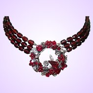 Signed Ruby Red DeMario Necklace