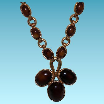 Vintage Jomaz Necklace in Glowing Bronze Lucite