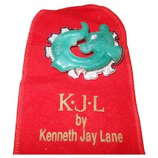 Signed Kennth J Lane Faux Jade Dragon Brooch
