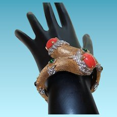 Signed Kenneth J Lane Bracelet with Faux Coral and Rhinestones