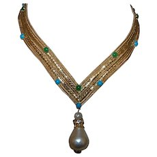 Signed Christian Dior Necklace with Faux Turquoise and Jade
