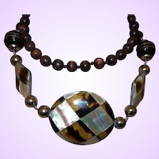 Signed Valentino Necklace with MOP and Glowing Lucite Beads