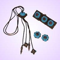 Vintage Designer Quality Demi-Parure In Blue Cabochons and Rhinestones