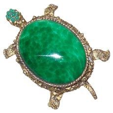 Vintage Tortoise Brooch with Faux Jade