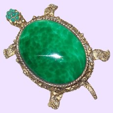 Vintage Tortoise Brooch with Faux Jade