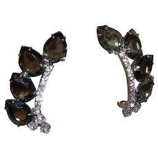 Juliana Cocktail Earrings in Grey Rhinestones