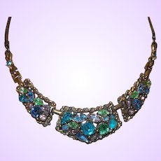 Signed Barclay Necklace in Multi Colored Rhinestones