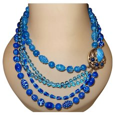 Signed Selini Necklace in Shades of Blue Plastic