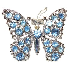 Signed Weiss Butterfly Pin in Pale Blue Rhinestones