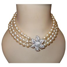 Signed Donald Stannard Faux Pearls and Rhinestone Necklace