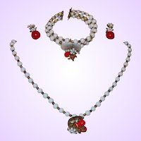 Vintage Unsigned Haskell Demi-Parure in White Glass Beads
