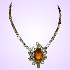 Vintage Citrine Rhinestone Pendant/Necklace