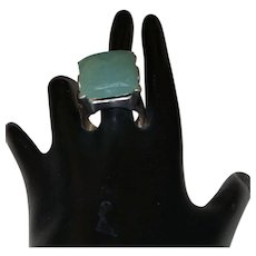 Vintage Faceted Large Square Cut Jade Ring In Silver