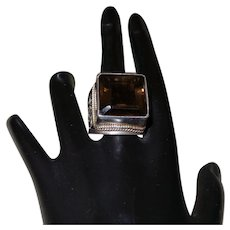 Vintage Square Cut Topaz Ring Set In Silver