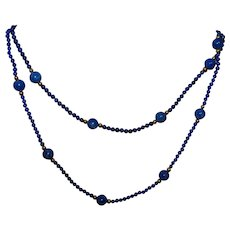 Vintage Lapis and Gold Necklace