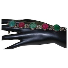 Ethnic Natural Ruby and Emerald Bracelet in SIlver