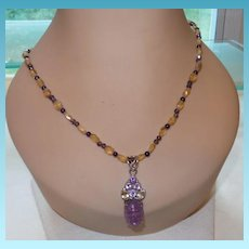 Artisan Created Amethyst and Citrine Necklace with a Carved Scarab  Pendant