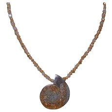 Artisan Created Fossilized Ammonite Pendant with Crystals and Aquamarine Beads