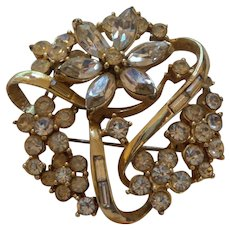 Signed Coro;Crystal Brooch