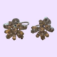 Signed Sherman Crystal Screw Back Earrings