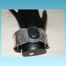 Vintage Ethnic Cuff Bracelet with Labradorite