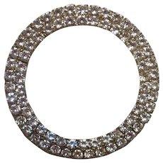 Large Vintage Circular Rhinestone Brooch