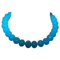 Artisan Created Faceted Blue Jade Necklace with Earrings