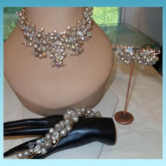 Vintage Juliana Demi-Parure in Crystal and Faux Pearl Beads