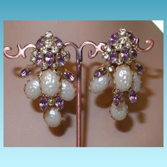 Vintage Runway Earrings with Faux Pearls and Crystals