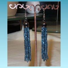 Artisan Created Eight Strand Crystal Dangle Earrings