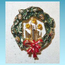 Vintage Holiday Wreath Brooch