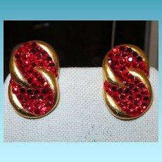 Signed Richard Kerr Ruby Red Crystal Earrings