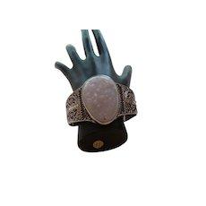 Ethnic Vintage Sterling Silver Quartz Cuff Bracelet