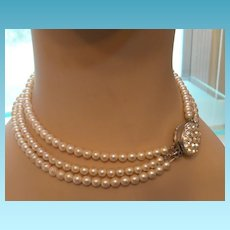 Vintage Triple Strand of Glass Pearls With Rhinestone Clasp