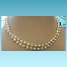 Vintage Single Strand of Glass Pearls With Lapis Clasp