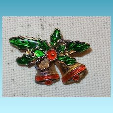 Holiday Brooch with Double Bells in Enamel