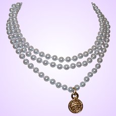 Vintage Signed Celine Faux Pearl Necklace