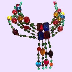 Signed Five Strand Iradj Moini Necklace in Faceted Lucite