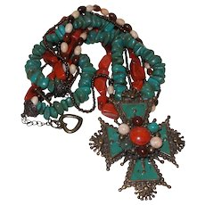 Vintage Ethnic Turquoise/Coral Necklace