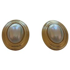 Signed Christian Dior Faux Pearl Earrings